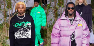playbo carti et offset défilent pour off-white